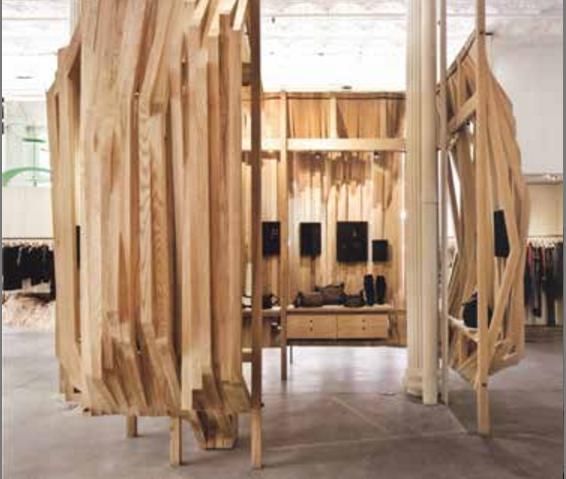 Isaber Marant专卖店展示木质小屋设计图